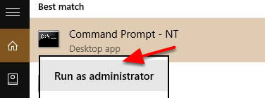 "2. Right-click on cmd and select ""Run as Administrator""."